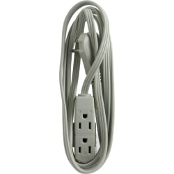 GE 3 Outlet Extension Cord, 8' Long Cord, Flat Plug, Gray, 43027