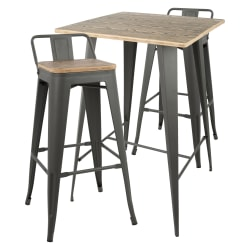 Lumisource Oregon Industrial Pub Table With 2 Low-Back Stools, Brown/Gray