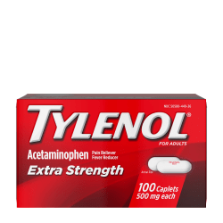 Tylenol Extra Strength Caplets with 500 mg Acetaminophen, Box of 100 Caplets