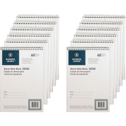 """Business Source Wirebound Steno Notebook - 60 Sheets - Wire Bound - 15 lb Basis Weight - 6"""" x 9"""" - White Paper - 12 / Pack"""