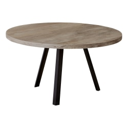 """Monarch Specialties Will Round Coffee Table, 17-3/4"""" x 36"""", Taupe/Black"""