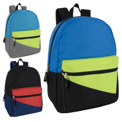 Trailmaker Colorblock Backpacks, Assorted Colors, Pack Of 24 Backpacks