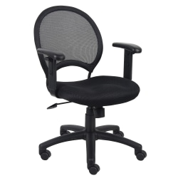 Boss Office Products Mesh Task Chair With Arms, Black