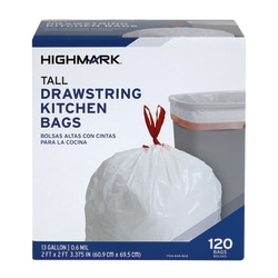 "Highmark™ Tall 0.6 mil Drawstring Kitchen Trash Bags, 13 Gallon, 24"" x 28"", White, Box Of 120"