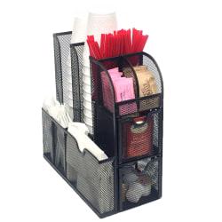 """Mind Reader """"Organizer"""" Coffee Condiment Organizer, 6""""H x 12""""W x 12""""D, Black"""