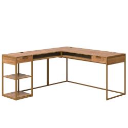"Sauder® International Lux 66""W L-Shaped Desk, Sindoori Mango"