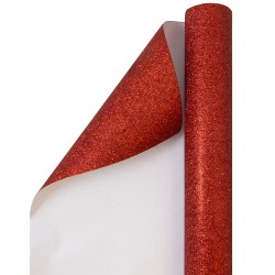 JAM Paper® Wrapping Paper, Glitter, 25 Sq Ft, Red