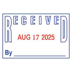 2000 PLUS® Received Date Stamp Dater, Two-Color Self-Inking RECEIVED Date Stamp Dater, RECEIVED, Blue/Red Ink