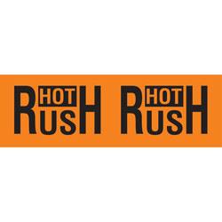 "Tape Logic® Preprinted Pallet Protection Labels, DL3141, 10"" x 3"", Corner™Style, ""Hot Rush,"" Fluorescent Orange, Roll Of 500"