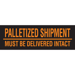 """Tape Logic® Preprinted Pallet Protection Labels, DL3161, 10"""" x 3"""", Corner™Style, """"Palletized Shipments Must Be Delivered Intact,"""" Fluorescent Orange, Roll Of 500"""