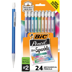 BIC® Xtra-Sparkle Mechanical Pencils, 0.7mm, #2 Lead, Assorted Barrel Color, Pack Of 24