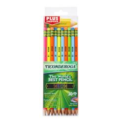 Ticonderoga® Neon Pencils With Bonus Pencil-Shaped Sharpener, 2.2 mm, Pre-Sharpened Assorted Barrel Colors, Pack Of 30 Pencils