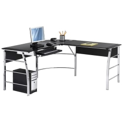 "Realspace® Mezza 62""W L-Shaped Desk, Black/Chrome"