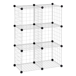 "Honey-can-do SHF-01794 6-Pack Modular Mesh Storage Cube, Silver - 43"" Height x 14.3"" Width28.9"" Length - Silver - Steel - 6Pack"