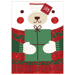 "Amscan Christmas Jumbo Bags With Gift Tags, 28""H x 20""W x 7""D, Winter Bear, Pack Of 5 Bags"