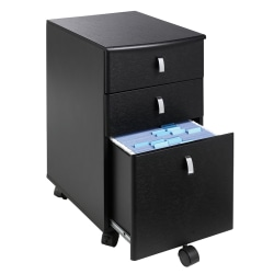 "Realspace® Mezza 19""D Vertical 3-Drawer Mobile File Cabinet, Black/Chrome"