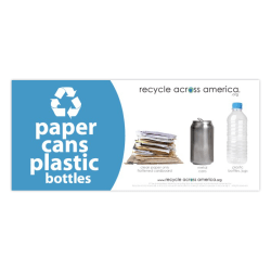 "Recycle Across America Paper, Cans And Plastic Standardized Recycling Label, PCP-0409, 4"" x 9"", Light Blue"