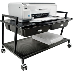 "Vertiflex® Steel Underdesk Machine Stand With 2 Drawers, 15 7/16""H x 25 5/16""W x 15 13/16""D, Black"