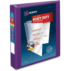 """Avery® Heavy-Duty View Binder With Locking EZD Rings, 1 1/2"""" Rings, 41% Recycled, Purple"""