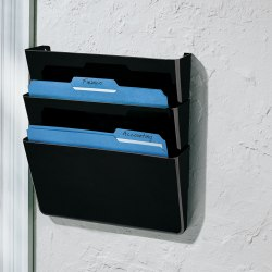 Brenton Studio® Single Wall Pockets, Letter Size, Black, Pack Of 3