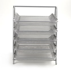 Mind Reader Steel Mesh Paper Tray Desk Organizer, 5 Tiers, Silver