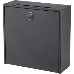 """Safco® Wall-mounted Inter-department Locking Mailbox, 12"""" x 7 3/4"""" x 18"""", Black"""