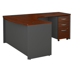 "Bush Business Furniture Components Bow-Front L-Shaped Desk, With 36""W Return And 3-Drawer Mobile File Cabinet, 60""W x 43""D, Right Handed, Hansen Cherry, Standard Delivery"