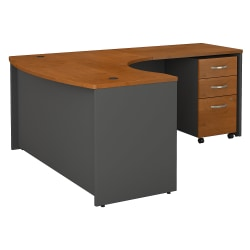 "Bush Business Furniture Components 60""W x 43""D Bow Front L Shaped Desk With 36""W Return And 3 Drawer Mobile File Cabinet, Right Handed, Natural Cherry, Standard Delivery"