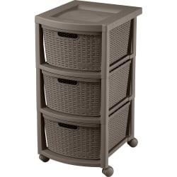 "Rimax Plastic 3-Drawer Rolling Storage Cart, 26"" x 12"" x 15 7/16"", Mocha"