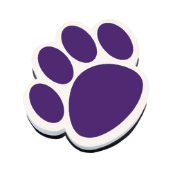 "Ashley Productions Magnetic Whiteboard Erasers, 3 3/4"", Purple Paw, Pack Of 6"