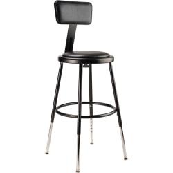 National Public Seating 6400 Adjustable-Height Task Stool, Black Seat/Black Frame, Quantity: 1