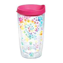 Tervis Project Paws Tumbler With Lid, Tie Dye Paw Heart, 16 Oz, Clear/Fuchsia