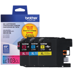 Brother® LC103 Color Ink Cartridges, Pack Of 3