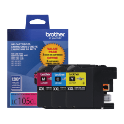 Brother® LC105 High-Yield Color Ink Cartridges, Pack Of 3