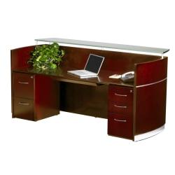 Mayline® Napoli Reception Station, With 2 Pedestals, Sierra Cherry