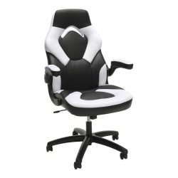 OFM Essentials Racing-Style Bonded Leather Gaming Chair, White/Black