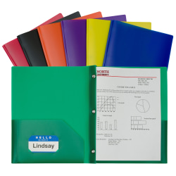 C-Line 2-Pocket Poly Folders With Prongs, Letter Size, Assorted Colors, Pack Of 36 Folders