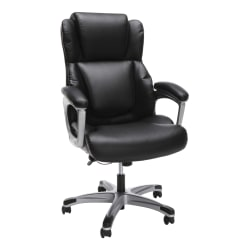 "OFM Essentials Ergonomic Bonded Leather Mid-Back Chair, 50""H, Black"