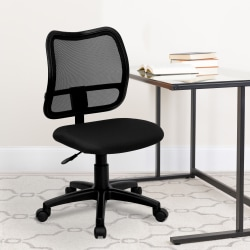 Flash Furniture Mesh Mid-Back Swivel Task Chair With Padded Fabric Seat, Black