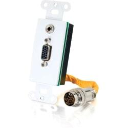 C2G RapidRun VGA (HD15) + 3.5mm Decorative Style Wall Plate - White - White - 1 x Mini-phone Port(s) - 1 x VGA Port(s)