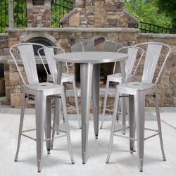 """Flash Furniture Commercial-Grade Round Metal Bar Table Set With 4 Café Stools, 41"""" x 30"""", Silver"""
