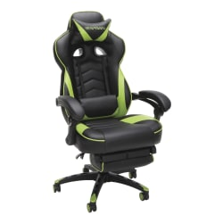 Respawn 110 Racing-Style Bonded Leather Gaming Chair, Green/Black