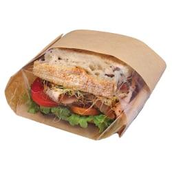 "Bagcraft Dubl View® Sandwich Bags, 9 1/2""H x 5 3/4""W x 2 3/4""D, Clear/Natural Brown, Carton Of 500 Bags"