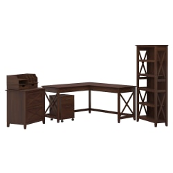 """Bush Furniture Key West 60""""W L-Shaped Desk With File Cabinets, Bookcase And Desktop Organizers, Bing Cherry, Standard Delivery"""