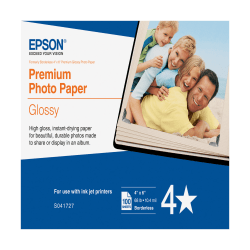 """Epson® Premium Glossy Photo Paper, 4"""" x 6"""", Pack Of 100 Sheets (S041727)"""