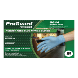 ProGuard PF Nitrile General Purpose Gloves - Medium Size - Nitrile - Blue - Ambidextrous, Puncture Resistant, Disposable, Powder-free, Allergen-free, Beaded Cuff, Comfortable, Textured Grip - For Chemical, Laboratory Application, Food Handling
