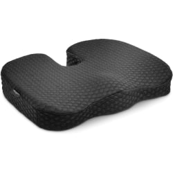 "Kensington Premium Cool-Gel Seat Cushion - 14"" x 18"" - Gel Filling - Fabric Cover - Foam - Comfortable, Durable, Anti-slip, Ergonomic Design, Machine Washable, Carrying Strap - Black - 1Each"