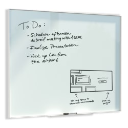 """U Brands Non-Magnetic Glass Dry Erase Board, 36"""" X 24"""", Frosted White Surface, Aluminum Frame with White Finish"""