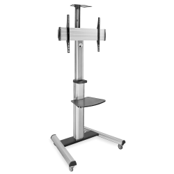 "Mount-It Height-Adjustable Rolling TV Cart For 32"" - 70"" TVs, Black"