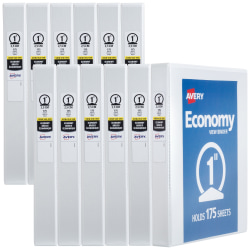 """Avery® Economy View Binder, 1"""" Round Rings, 175-Sheet Capacity, White (05711) - Letter - 8.5"""" x 11"""" - 175 Page x 1"""" Capacity - White"""